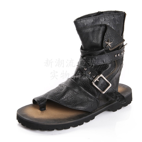 Clip Stil Casual Flip Echtem Stiefel Wohnungen Nieten Schwarz Sommer Schuhe Rom Sandalen Kappe Coole Großhandel Leder Mode Flops Männer Strand rdsQht