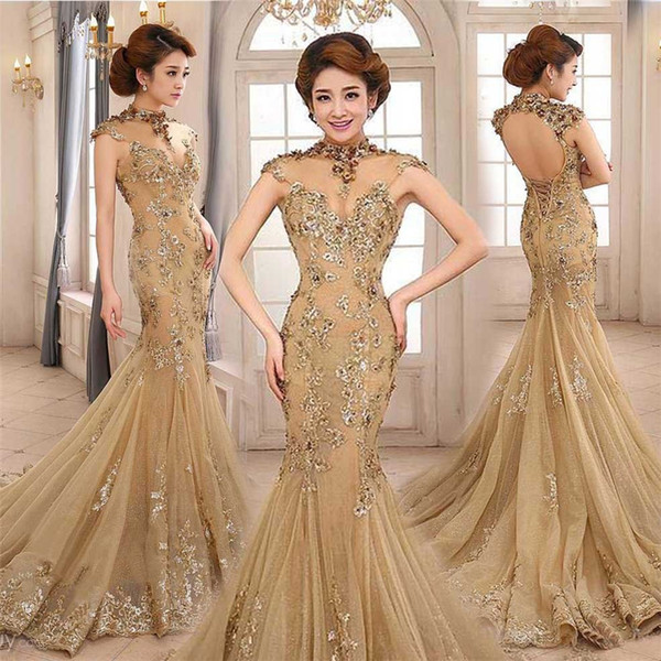 top popular Vintage 2019 Champagne Mermaid Prom Dress Sheer High Collar Cutouts Backless Cap Sleeve Evening Dress with Sequined Appliques 2020