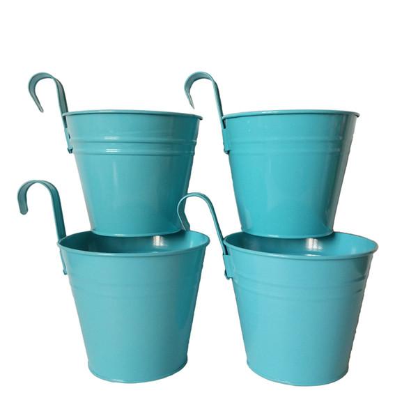 D14.5XH17.5CM blue Metal hanging pot Flower Pot with Wall Hook Planter tin box garden Hanging Wedding Tub