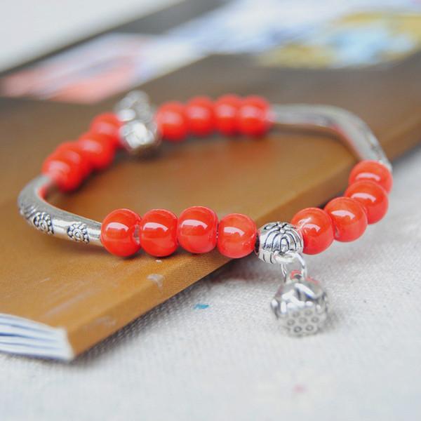 Original vintage Ceramics Small beads Girls Bracelet Good Lucky Bracelet cute Lover Bracelet Lovers Lucky Jewelry Women Christmas Gift
