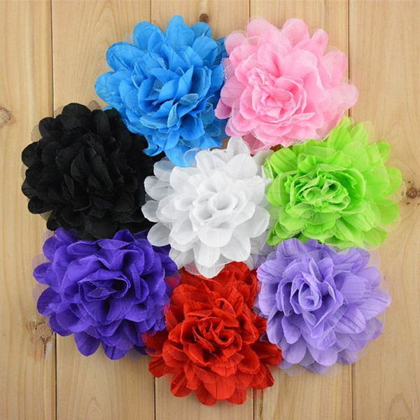 Foreign hot sell flower girl headband corsage 5 inch fold Chiffon net gauze Flower Hat with hair band hoop kids hair bows 8 color mix order