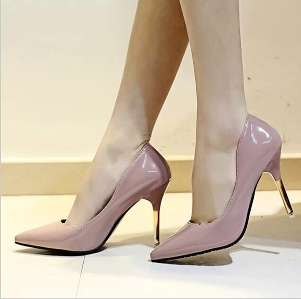 Spring new paint leather nightclub fashion shoes bare color Korean version of the tip of fine women with Miss shoes size: 35-39