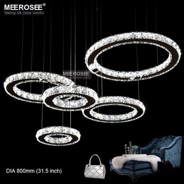 Lámpara LED Anillo de diamantes de cristal Lámpara LED Círculo Acero inoxidable Lámparas colgantes Iluminación LED Rectángulo Cristal Lustre
