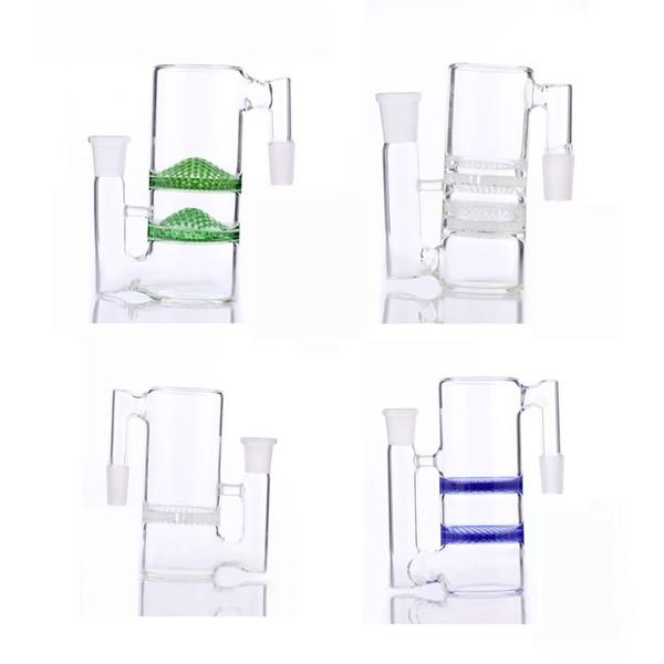 2017 новый улавливатель золы два Сота perc бонг ashcather 18.8-18.8 mm различный цвет и водоворот стеклянная труба водопровода улавливатель золы бесплатная доставка