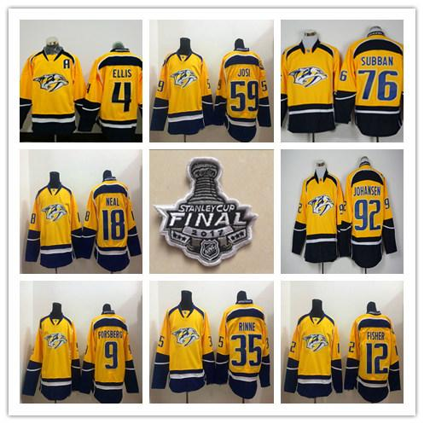 Finaliste de la Coupe Stanley 2017 Nashville Predators Chandails Hockey 35 Pekka Rinne 59 Roman Josi 92 Ryan Johansen 76 P.K. Subban 12 Fisher