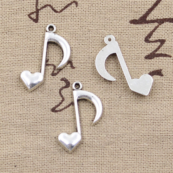 Großhandels- 99Cents 8pcs bezaubert musikalische Anmerkung 25 * 16mm Antike, die passendes, Weinlese-tibetanisches Silber, DIY Armbandhalskette herstellt