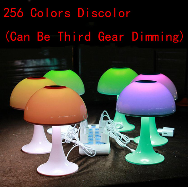 256 Color Automatic Discoloration Charging Reading LED Mushroom Desk Lamp Shield Eye Touch Dimmer Colorful Led Night Light Baby Children Bed