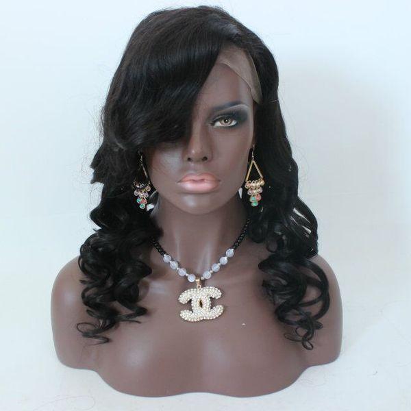 Jet Black Top quality 150% Density Brazilian Virgin Hair Wave Glueless Full Lace Human Hair Wigs Lace Front Human Hair Wigs For Black Women