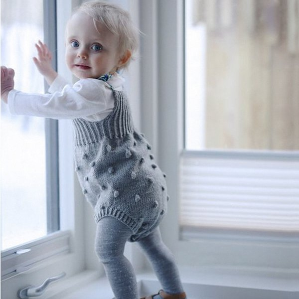 INS Baby Rompers 2017 New Autumn Knit Boys Girls Jumpsuit Bubble ball climbing Infant Bodysuit high quality suspenders Toddler Onesie C1755