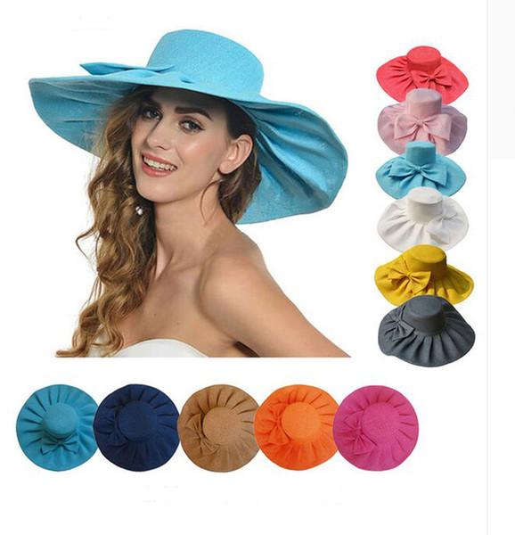 Linen Summer Womens Kentucky Derby Wide Brim Sun Hat Wedding Church Sea Beach Cap 10pcs/lot