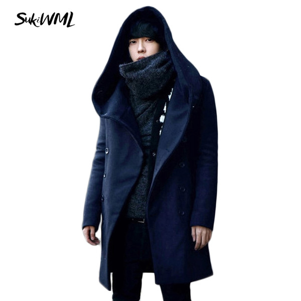 Wholesale- SUKIWML 2017 Winter Trench Coat Men Double Breasted Cheap Mens Trench Coat Hoody Mens Long Trench Coat Plus Asian Size M-3XL