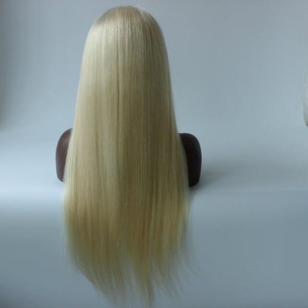 BLeach Blonde #613 Human Hair Straight Glueless Full Lace Wigs Baby Hair Around 100% Brazilian Human Hair Wigs In Stock