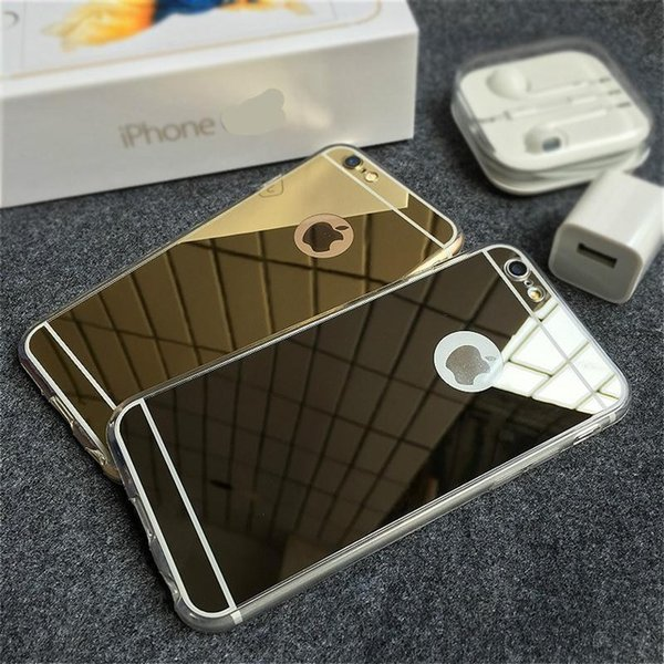 Новый розовое золото роскошные зеркало мягкий прозрачный чехол TPU для iphone 6/6s 6 / 6s плюс 7 7plusSE 5s 5 крышка назад