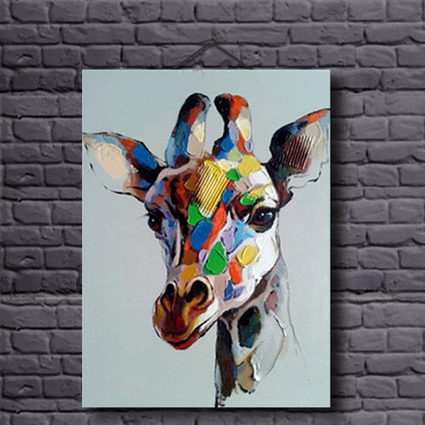 2019 Framed Hand Painted Modern Abstract Animal Art Oil Painting Colorful Giraffe On High Quality Canvas Home Wall Decor Size Can Be Customized From