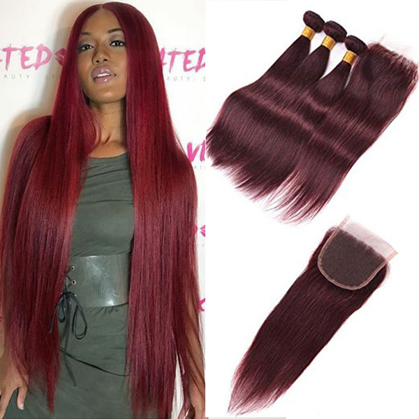 #99J Burgundy Brazilian Virgin Hair Weave With Closure 4Pcs Lot Wine Red Silky Straight Human Hair 3 Bundles With 4x4'' Lace Top Closure