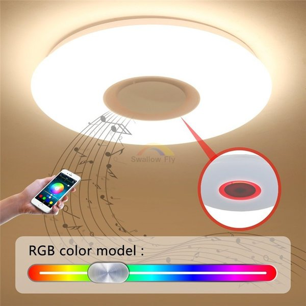 Compre Atenuación 24W LED Al Música Con AC85 Control De APPRGB Por Luces Techo De Mayor BluetoothControl Altavoz Sonido APP De 265V LED De Lámpara tsQrdChx