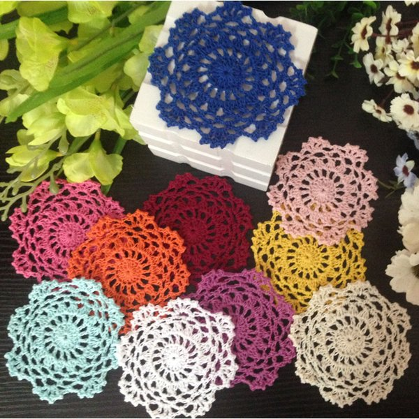 Free Shipping 50pcs/lot DIY Wholesale Household Handmade Flower Crochet Doilies Round Cup Mat Pad 10cm Coaster Placemats For Wedding Gift