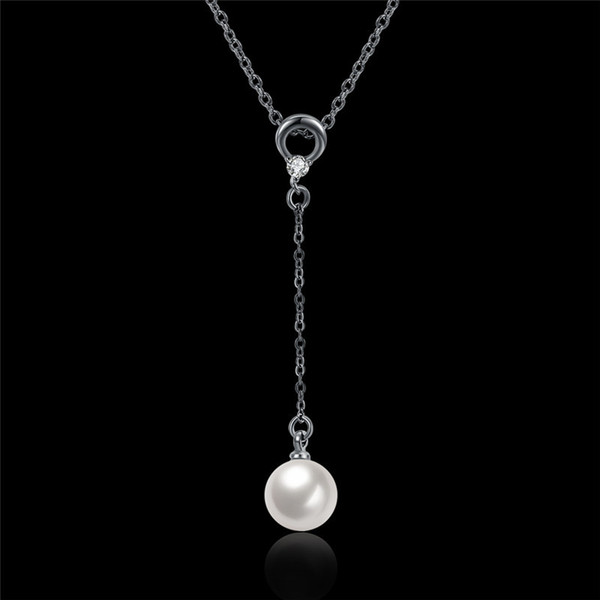 Trendy Women's Gun Metal Plated Brass Delicate Long Chain Shell Pearl Pendant Lariat Y Shaped Necklace Free Shipping