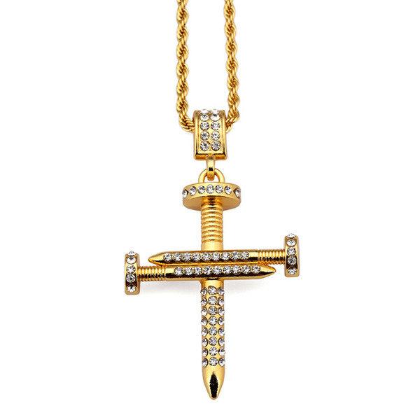 New Fashion Personalized Design Men Cross Pendant Hip Hop Chain Necklace Jewelry 18k Gold Plated Filling Pieces Mens