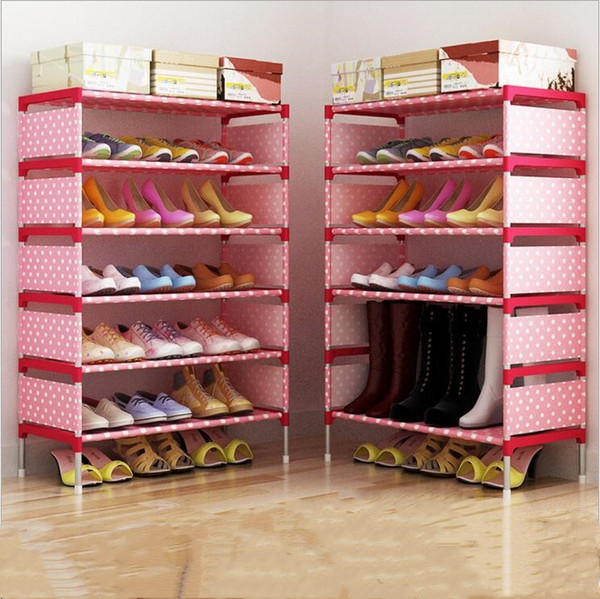 top popular Shoe Cabinet Fashion Storage Closet Home Shoe Rack Kids Bedroom Shoes Organizer Sitting Room Nonwoven Shoes Shelf Holder Creative B2279 2021