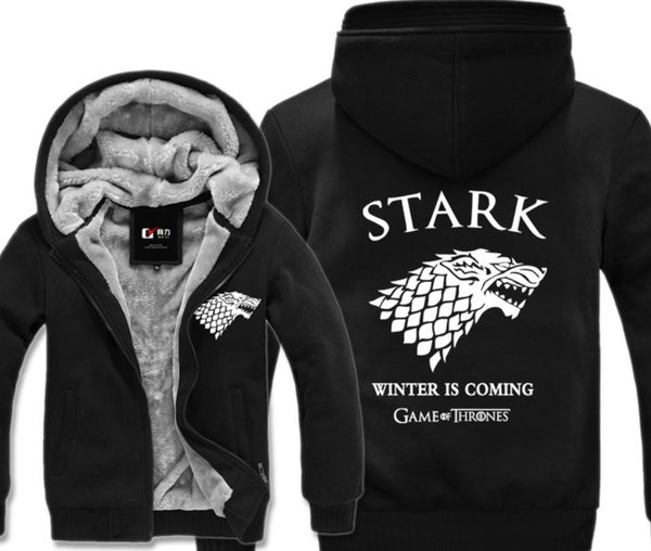2019 Game of Thrones Hoodie Direwolf Ghost Jacket Stark Zipper Coat Sweatshirt