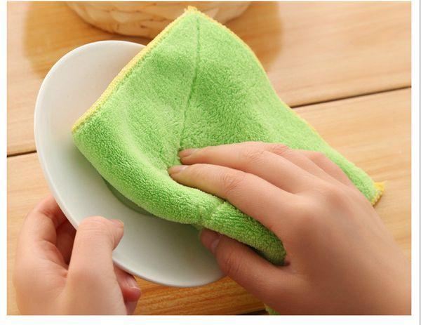 Уборка Superfine волокна двойной слой соскабливая пусковая площадка microfiber ткань не загрязнены масло стиральная кухонное полотенце кухня ткань