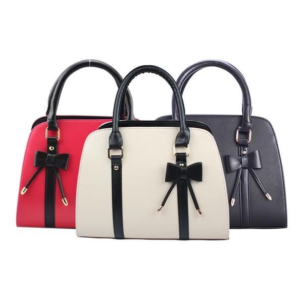 Al por mayor- Bolsos de diseño Lady Girls de cuero coreano Mariposa nudo Decoración Messenger bolso del bolso de hombro Totes 3 Color marcas famosas 40