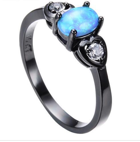 Anelli di opale di fuoco blu unici per donna Uomo Anello in oro nero pieno di fidanzamento con doppio cuore Anello di fidanzamento Gioielli d'amore