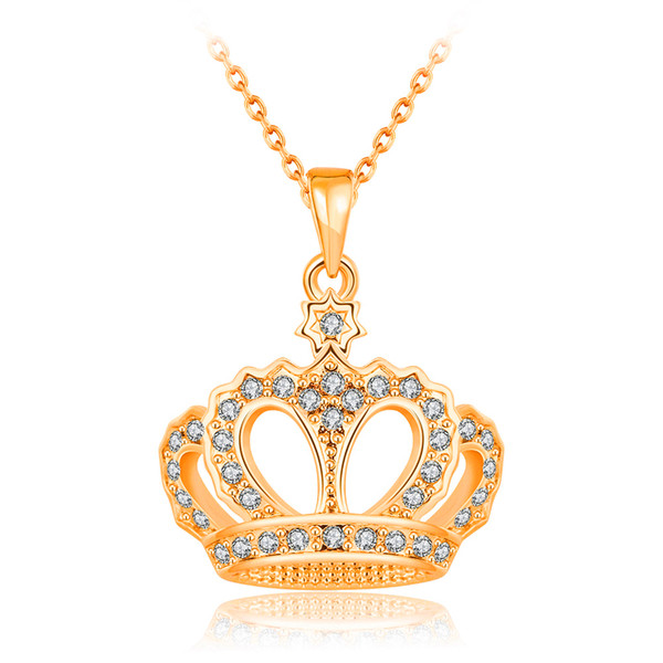Fashion Necklace For Women Girls Crystal Rhinestone Crown Charm Necklaces & Pendants 18k Rose Gold / Platinum Plated Wholesale Jewelry Gift