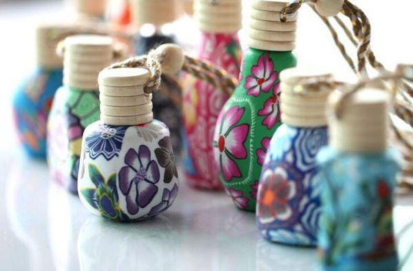 15 ml MINI Colorful Glass Essential Oil Bottle Pendant Fimo Clay Perfume Vials Gift