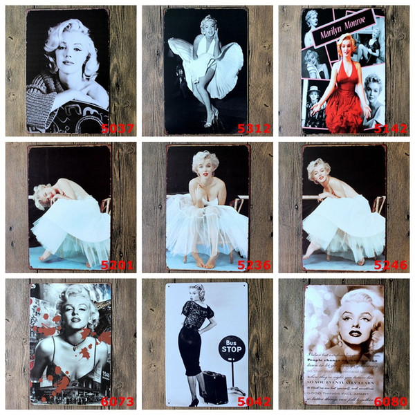 Marilyn Monroe Poster Wall Decor Bar Home Vintage Craft Gift Art 12x8in Iron painting Tin Poster 30X20cm(Mixed designs)
