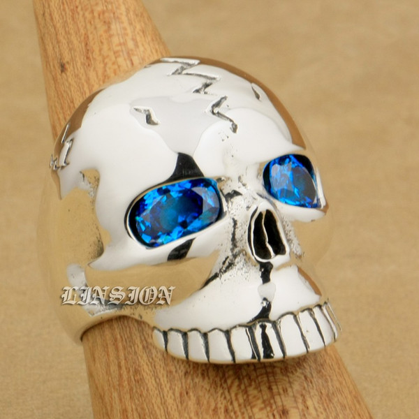 LINSION Huge Heavy 925 Sterling Silver Blue CZ Eyes Skull Mens Boys Biker Rock Punk Ring 9M109 US Size 7~15