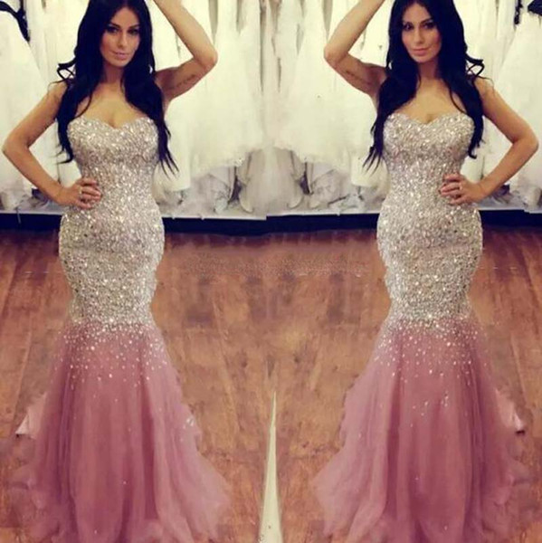 2017 Sweetheart Crystal Beaded Sequin Evening Dresses Luxury Mermaid Tulle Satin Floor Length Plus Size Skin Pink Prom Dresses Pageant Gown