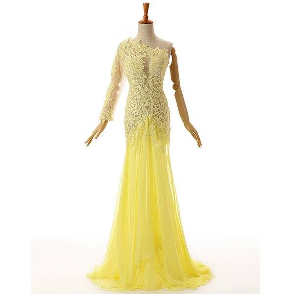 Yellow One Shoulder Evening Dresses Long 2018 See Through Lace Appliques Special Occasion Evening Gown Party Dresses