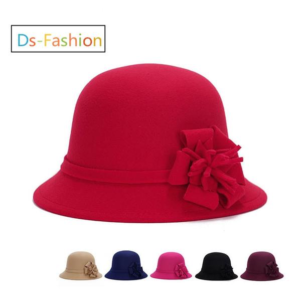 Fashion Elegant Fedoras Derby Hat With Flower For Women Dress Church Hats Ladies Formal Wedding Dress Honey Winter Warmer Fishing Bucket Cap