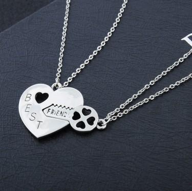 friends forever bff silver heart key pendant necklace 2 pcs per set, Golden;silver