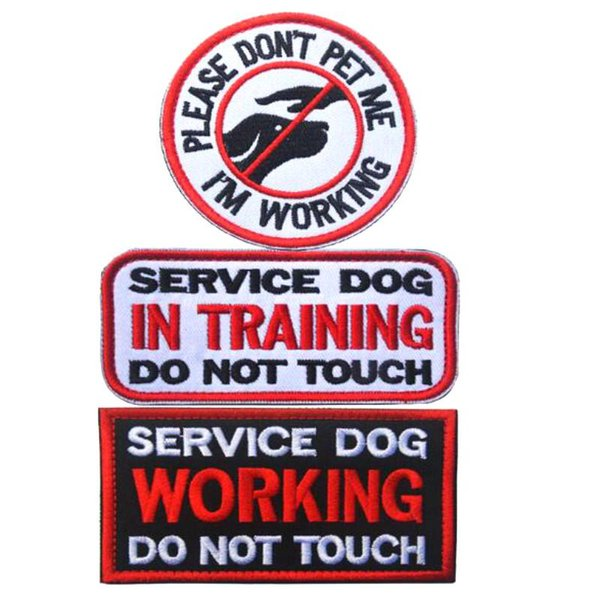 VP-222 Hot sale Service dog in training do not touch embroidery tactical patch with magic stick Armband patches Army patch jacket patch