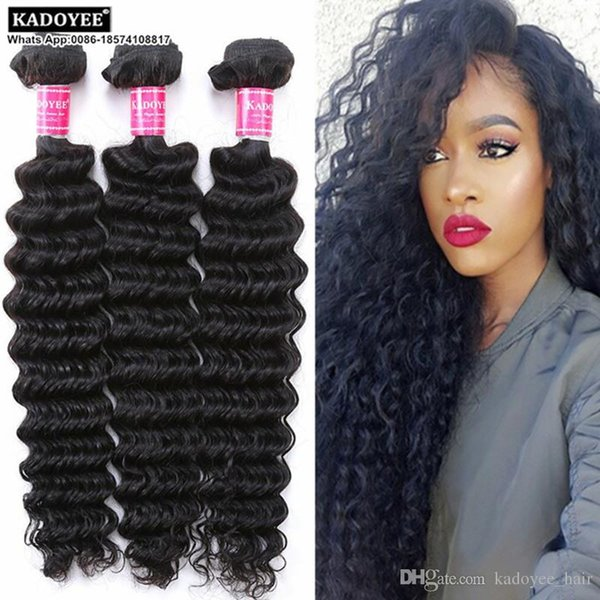 Kadoyee 8a Human Hair Weave Loose Deep Wave 100% Unprocessed Brazilian Virgin Remy Hair Extension Natural Black Color Soft Texture Thick End