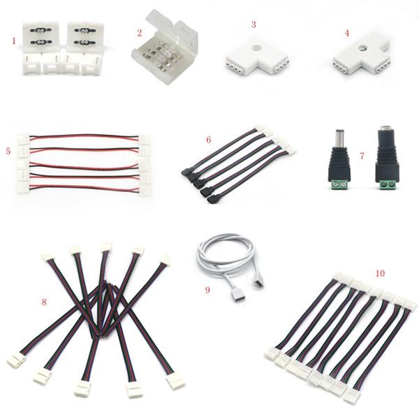 LED Şerit Işık Konnektör Adaptörü Kablo Klipsi Lehimsiz PCB 3528 5050 5630 RGB 10PCS Ücretsiz Kargo için kullanın