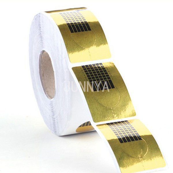 Wholesale- 500 Pcs/Roll Nail Art Guide Form Stickers Nail Tools Golden Nails Paper Holder Acrylic UV Gel Tip Extension Forms