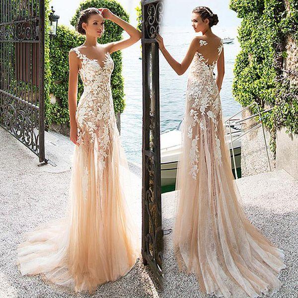 top popular Marvelous Tulle & Lace Bateau Neckline See-through Sheath Prom Dress With Lace Appliques Champagne Evening Dress vestido de formatura 2020