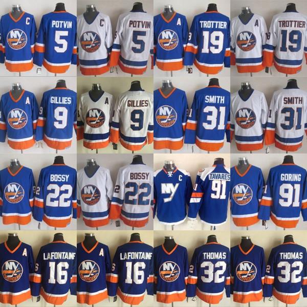 New York Islanders Jerseys 5 Denis Potvin 9 Clark Gillies 16 Pat LaFontaine 19 Rocky Trottier 31 Billy Smith 91 John Tavares