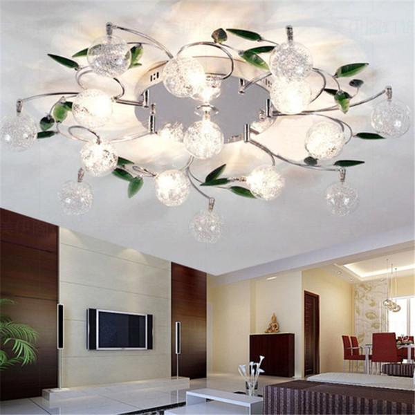 LED Ceiling Light Modern Green Leaves Light Crystal Ball Ceiling Light Aluminium Wire Ceiling Lamp for Study Bedroom Living Room Dining Room