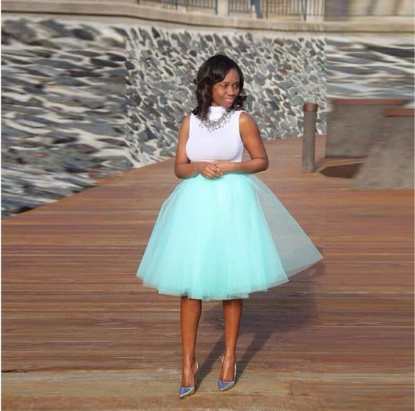 Mint Green Tutu Skirt A Line Knee Length fashion Style Layers Tulle Skirt Casual Skirts Women high quality custom