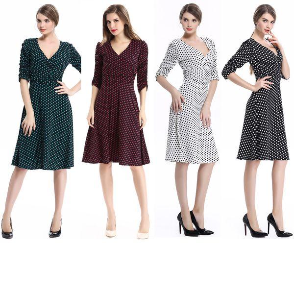 Women V Neck Polka Dot Half Sleeve Swing Knee-length A Line Causal Business Dress