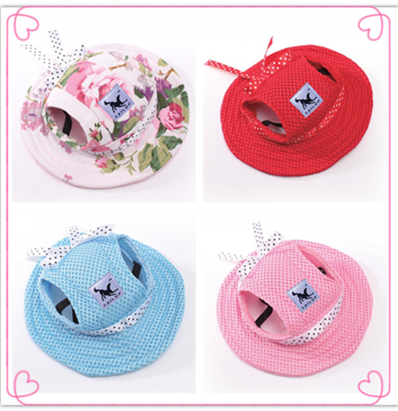 Dog Cap Breathable Mesh Dog Princess Caps / Sun Hat / Princess Beach Hat For Small Pet Dogs 2017 Summer Dog Products S,M