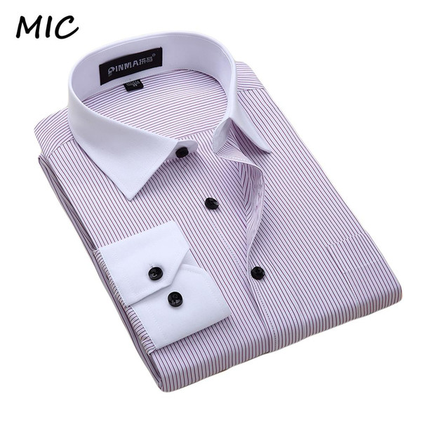 Wholesale- 2017 New white collar Dress shirt men's long sleeved striped bussines casual foramal shirts men spring and summer large size