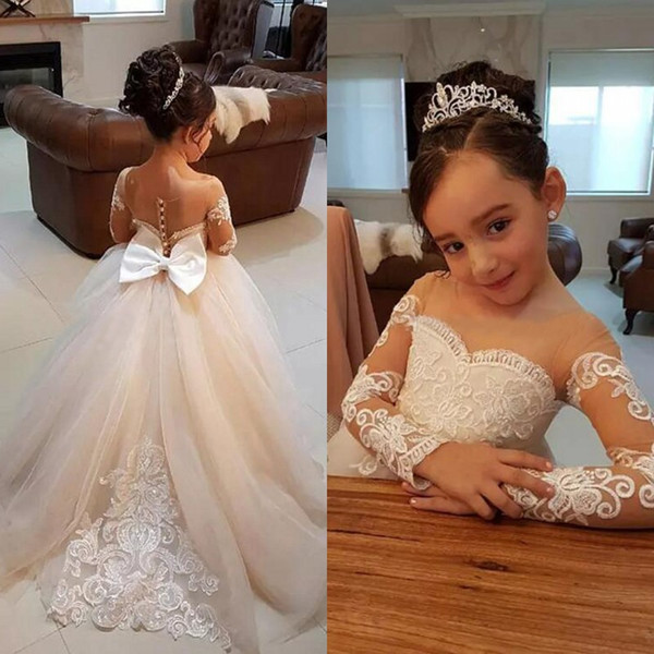 Lovely 2017 Sheer Neck Long Sleeve Princess Tulle Flower Girl Dresses For Weddings Lace Appliqued Bow Sash Girls Birthday Party Gown EN9309