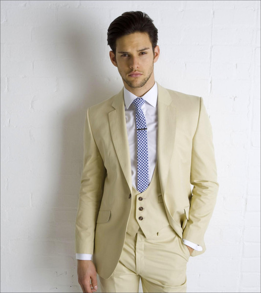 Cheap Beige Wedding Suits For Men Notched Lapel Formal Grooms ...