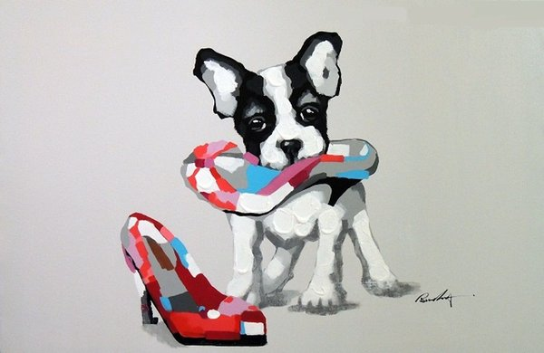 Framed Boston Terrier Puppy Dog And Shoe,Genuine Hand Painted Cartoon Animal Art oil Painting On Canvas,Museum Quality Multi sizes J057!